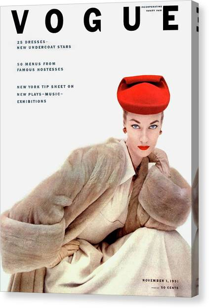 Red Lipstick Canvas Print - Vogue Cover Of Janet Randy by Clifford Coffin