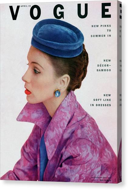Red Lipstick Canvas Print - Vogue Cover Of Suzy Parker by John Rawlings