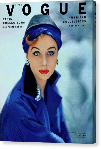 Red Lipstick Canvas Print - Vogue Cover Of Suzy Parker by Roger Prigent