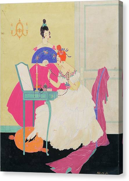 Vogue Illustration Of Two Women Around A Vanity Canvas Print by Helen Dryden