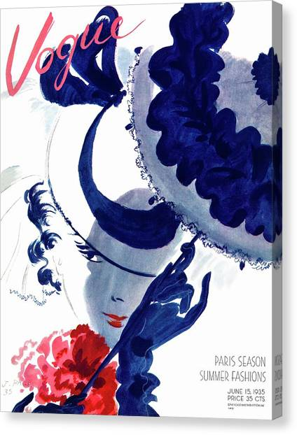 Vogue Magazine Cover Featuring A Woman Holding Canvas Print by Jean Pages