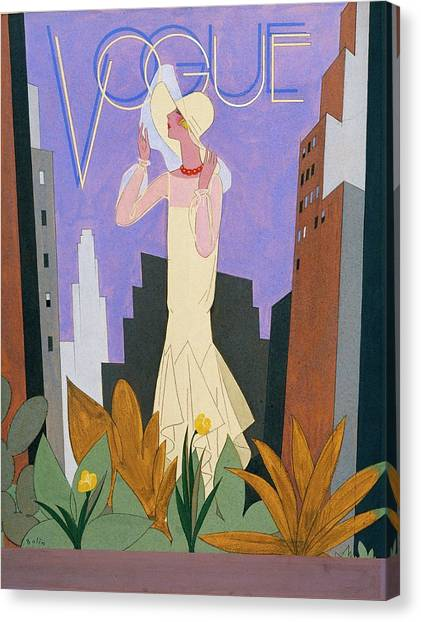 Vogue Magazine Cover Featuring A Woman In A White Canvas Print by William Bolin
