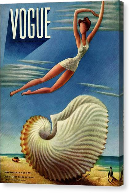 Vogue Magazine Cover Featuring A Woman Canvas Print by Miguel Covarrubias