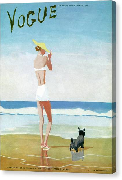 Vogue Magazine Cover Featuring A Woman On A Beach Canvas Print by Eduardo Garcia Benito