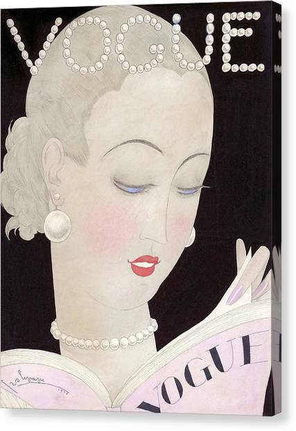 Vogue Magazine Cover Featuring A Woman Reading Canvas Print