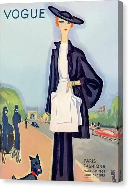 Vogue Magazine Cover Featuring A Woman Walking Canvas Print by Eduardo Garcia Benito