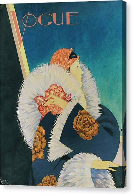 Fashion Canvas Print - Vogue Magazine Cover Featuring A Woman Wearing by George Wolfe Plank