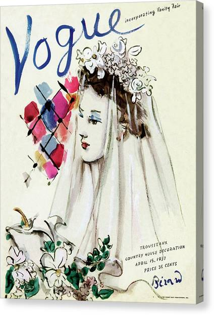 Vogue Magazine Cover Featuring An Illustration Canvas Print by Christian Berard