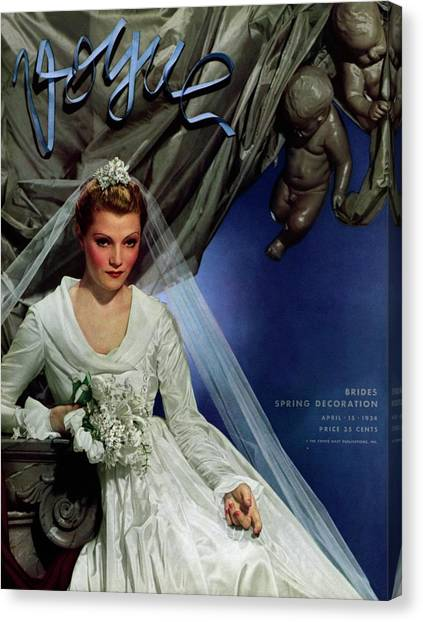 Wedding Bouquet Canvas Print - Vogue Magazine Cover Featuring French Actress by George Hoyningen-Huene