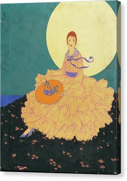 Vogue Magazine Illustration Of A Woman Sitting Canvas Print