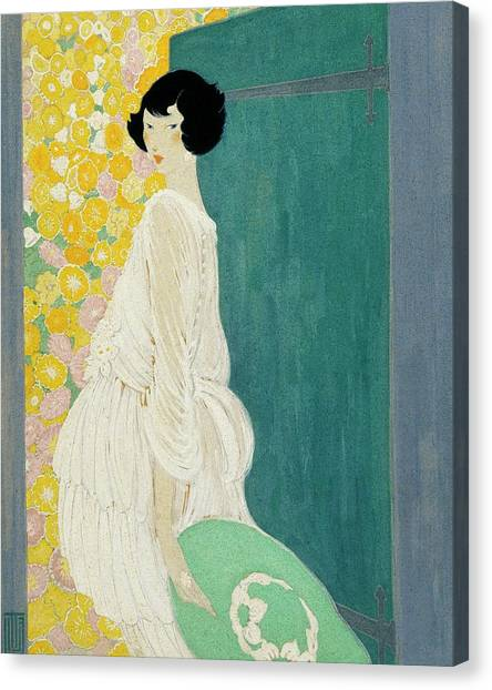 Vogue Magazine Illustration Of A Woman Standing Canvas Print by Helen Dryden