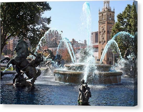 Jc Nichols Memorial Fountain In Blue Canvas Print