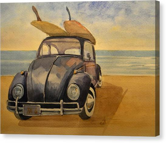 Beetle Canvas Print - Volkswagen Beetle by Juan  Bosco