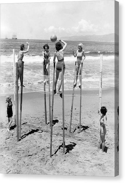 Volleyball Canvas Print - Volleyball On Stilts by Underwood Archives
