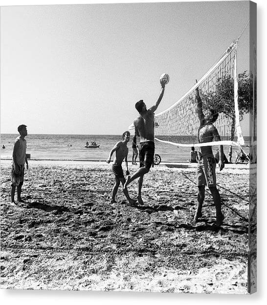 Volleyball Canvas Print - #volleyball #sea #sun #sand #igaddict by Deniz Ipek
