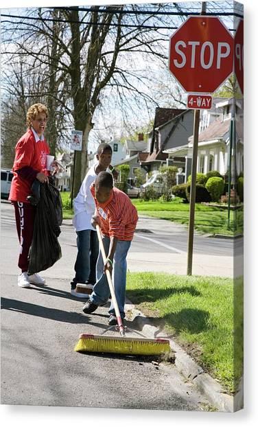 Elementary School Canvas Print - Volunteers Clearing Rubbish by Jim West