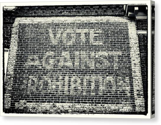 Vote Against Prohibition Iv Canvas Print by John Rizzuto