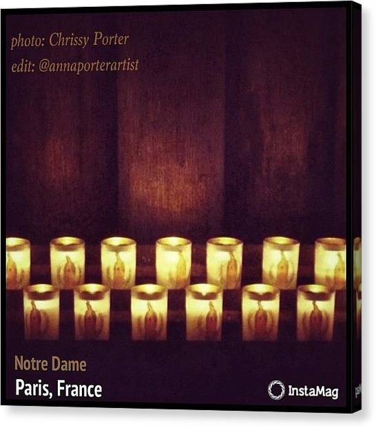 Religious Canvas Print - Votive Candles - Notre Dame Cathedral by Anna Porter