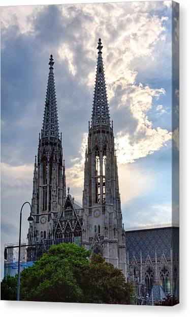 Votive Church Towers Canvas Print by Viacheslav Savitskiy