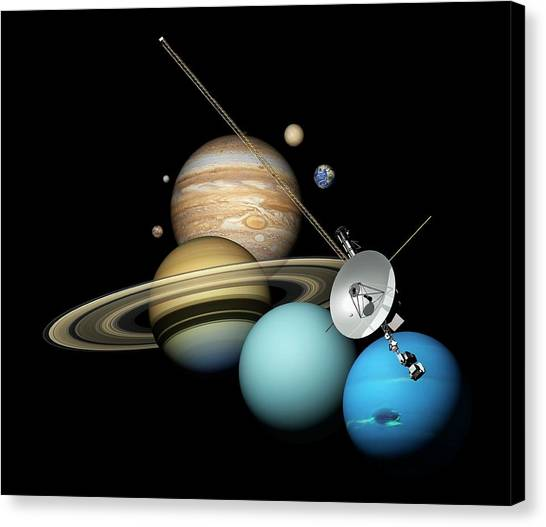 Uranus Canvas Print - Voyager 2 And Planets by Carlos Clarivan
