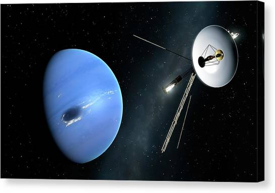 Neptune Canvas Print - Voyager II Probe Passes Neptune by Mark Garlick/science Photo Library