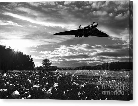 Poppys Canvas Print - Vulcan History Mono by J Biggadike