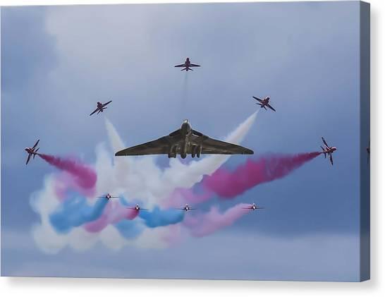 Vulcans Canvas Print - Vulcan Xh558 And The Red Arrows by John Richardson