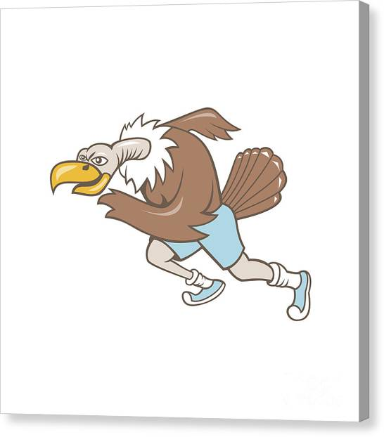 Condors Canvas Print - Vulture Buzzard Runner Running Cartoon by Aloysius Patrimonio