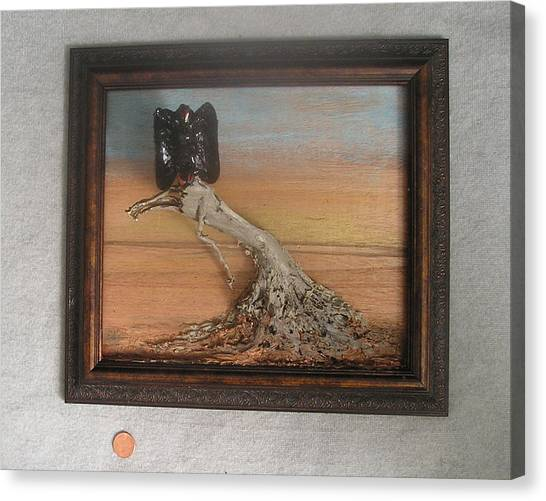 Vulture On Stump Canvas Print