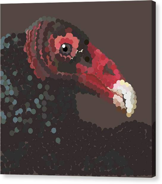 Vulture Pixel Pointillized Canvas Print