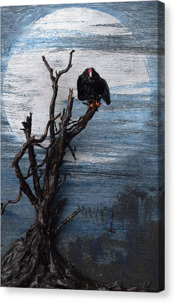 Vulture With Blue Moon Canvas Print