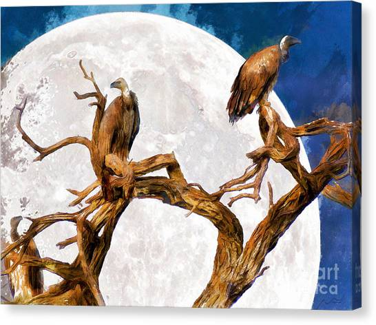 Undertaker Canvas Print - Vultures Of The Full Moon Night 20150212wcstyle by Wingsdomain Art and Photography