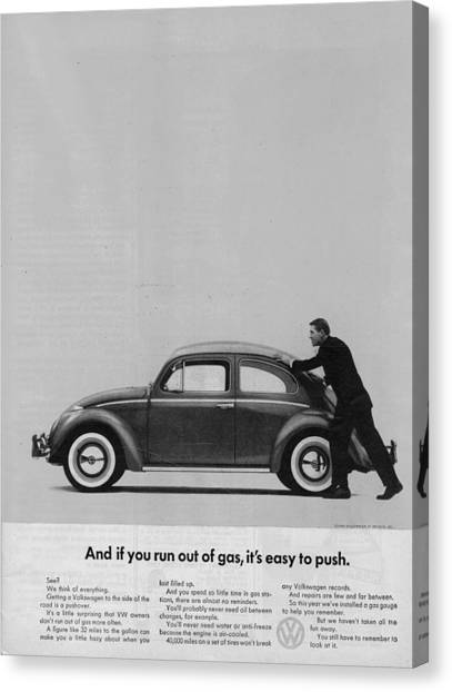 Vw Beetle Advert 1962 - And If You Run Out Of Gas It's Easy To Push Canvas Print