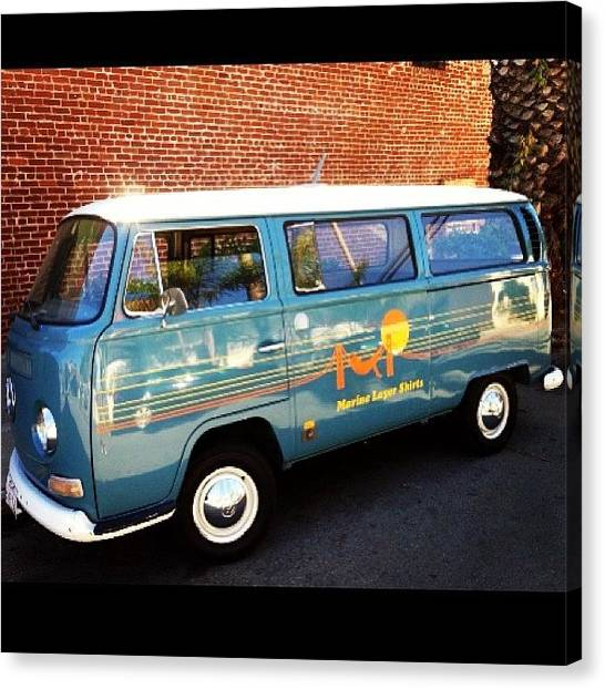 Vw Bus Canvas Print - #vw #bus #marinelayershirts #venice by Will Haight