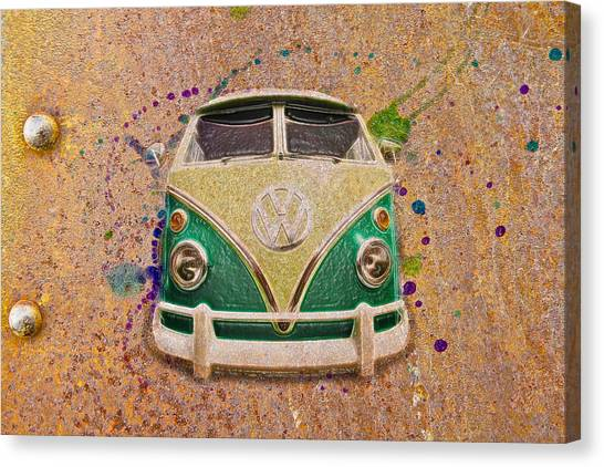 Canvas Print - Vw Bus On Metal by Steve McKinzie
