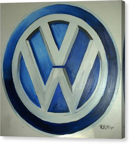Vw Logo Blue Canvas Print
