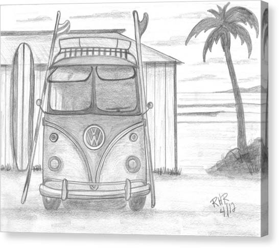 Surfboard Canvas Print - Vw Surfing Bus by Ray Ratzlaff