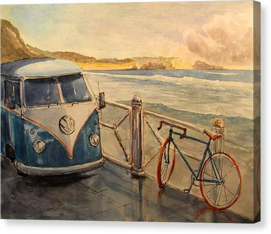 Bicycle Canvas Print - Vw Westfalia Surfer by Juan  Bosco