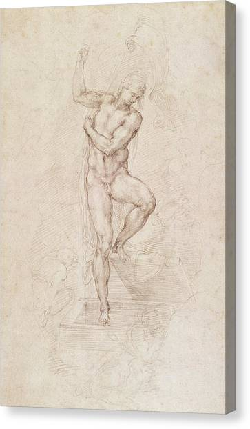 Buonarroti Canvas Print - W53r The Risen Christ Study For The Fresco Of The Last Judgement In The Sistine Chapel Vatican by Michelangelo Buonarroti