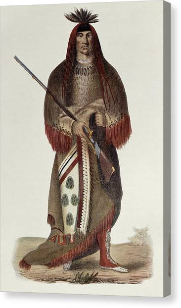 Bear Claws Canvas Print - Wa-na-ta Or The Charger, Grand Chief Of The Sioux Or Dakota Indians, Painted 1926, Illustration by Charles Bird King