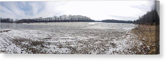 Wabash River Ice Jam Panorama Canvas Print