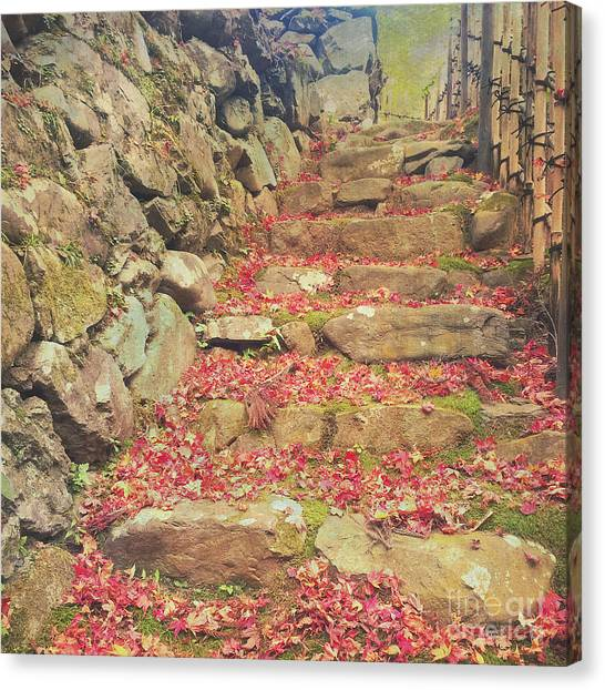 Wabi-sabi Rubble Masonry Bamboo Fence Fallen Leaves Canvas Print