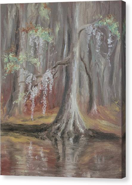 Canvas Print featuring the painting Waccamaw River Cypress by MM Anderson