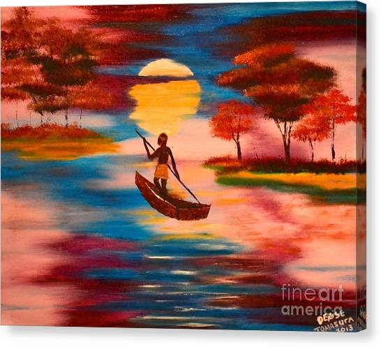Wading For Magenta Canvas Print