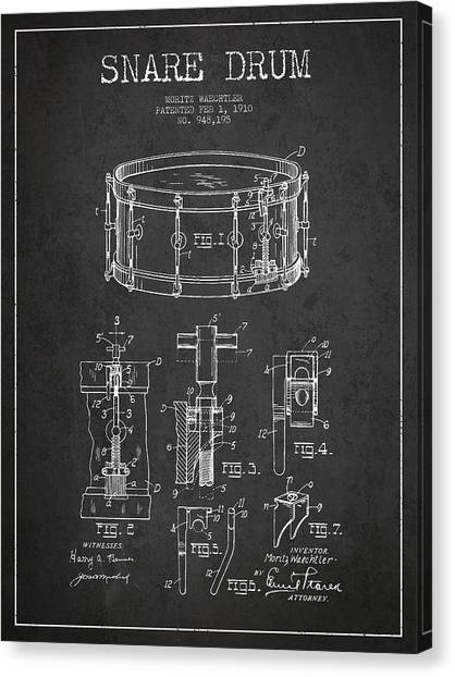 Snares Canvas Print - Waechtler Snare Drum Patent Drawing From 1910 - Dark by Aged Pixel