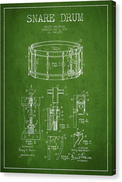Snares Canvas Print - Waechtler Snare Drum Patent Drawing From 1910 - Green by Aged Pixel
