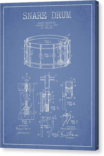 Snares Canvas Print - Waechtler Snare Drum Patent Drawing From 1910 - Light Blue by Aged Pixel
