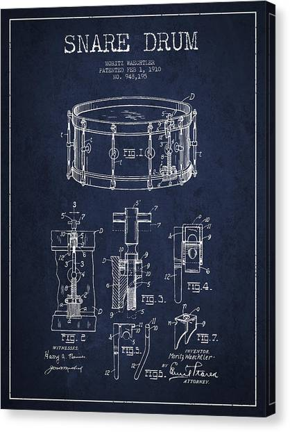 Snares Canvas Print - Waechtler Snare Drum Patent Drawing From 1910 - Navy Blue by Aged Pixel
