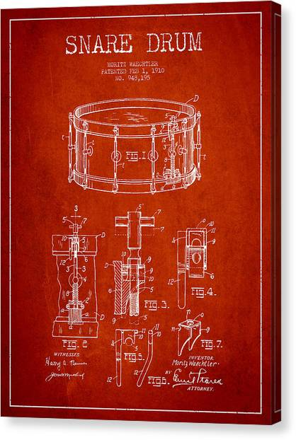 Snares Canvas Print - Waechtler Snare Drum Patent Drawing From 1910 - Red by Aged Pixel