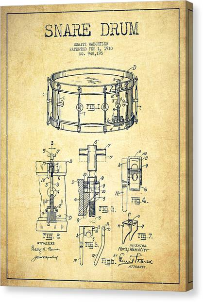 Drums Canvas Print - Waechtler Snare Drum Patent Drawing From 1910 - Vintage by Aged Pixel